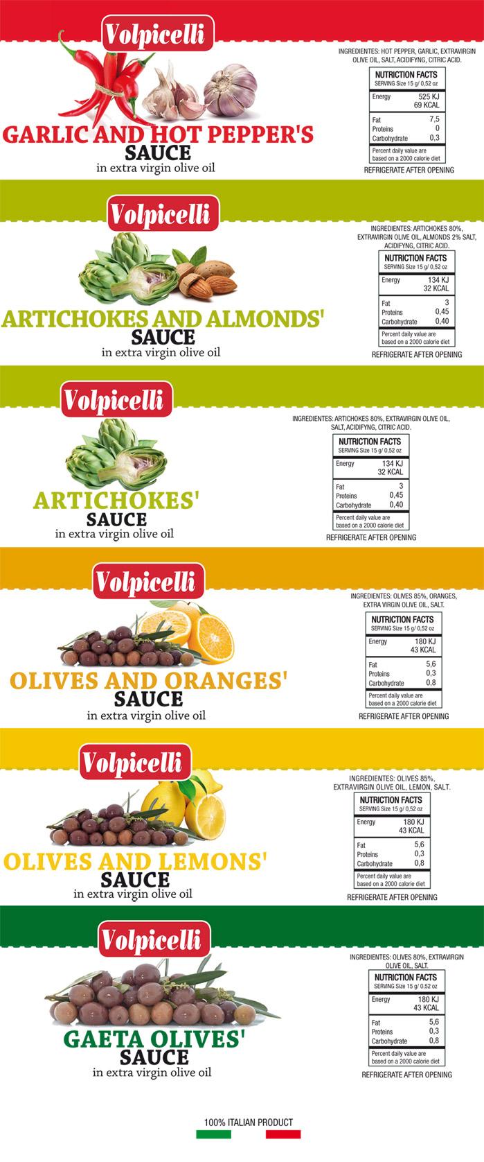 Assortimento di salse in olio extra vergine di oliva
